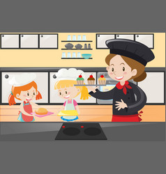 Baker and kids in the kitchen vector