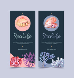 Banner design with sealife theme pearl and coral vector