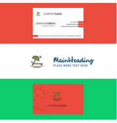 beautiful beach logo and business card vertical vector image
