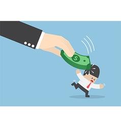 Big hand hit businessman head by dollars banknote vector