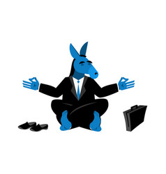 blue donkey democrat meditating symbol of usa vector image