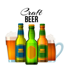 bottles and glasses with craft beer and english vector image