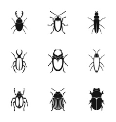 Bugs icons set simple style vector