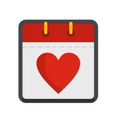 calendar valentine day icon flat style vector image