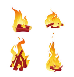 campfire burning logs icon set bonfire cartoon vector image