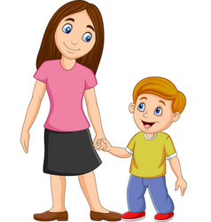 cartoon mother holding her sons hand vector image