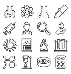 chemistry and science icons set line style vector image