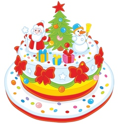 Christmas cake decorated vector