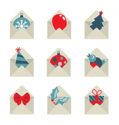 Christmas mail icons vector