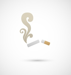 Cigarette and smoke icon vector image