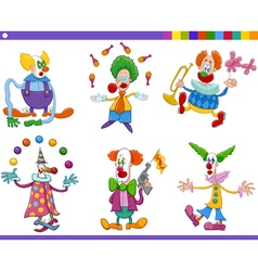 circus clowns collection vector image vector image