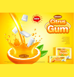 Citrus gum ads pouring orange juice background vector