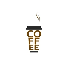 Coffee cup logo isolated paper mug text vector