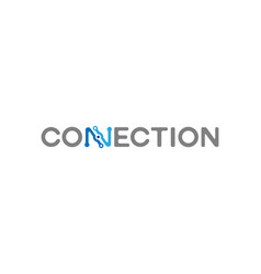 connection typography logo symbol design vecor vector image
