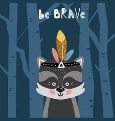 cute cartoon little raccoon childish print vector image