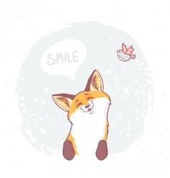Cute fox smile vector