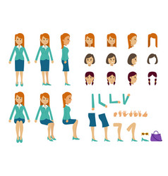 Cute women with many poses various head various vector
