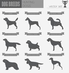 Dog breeds Hunting dog set icon Flat style vector