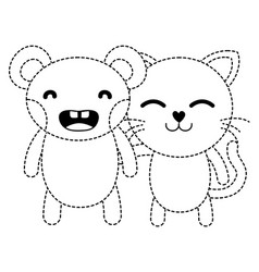 Dotted shape bear and cat cute animals friends vector