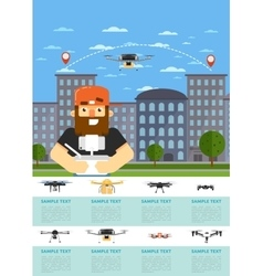 Drone aircraft website template with flying robot vector image