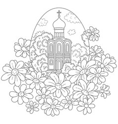 easter egg with a church and flowers vector image