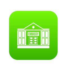 Embassy icon digital green vector
