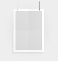 empty white a4 sized paper mockup hanging vector image