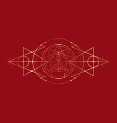 Enneagram yoga gold icon design and seven chakras vector