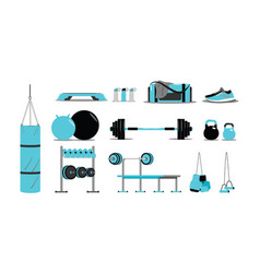 fitness icons set with equipment vector image