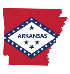 Flag and silhouette state arkansas vector