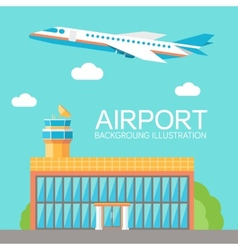 flat building airport with flying plane tour vector image