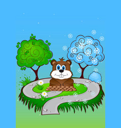 Greeting card on groundhog day vector