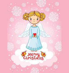 Greeting card with angel standing vector