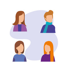 group of young people characters vector image