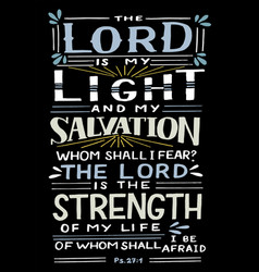 Hand lettering with bible verse lord is my vector