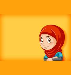 happy muslim girl cartoon character vector image