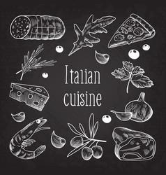 Italian cuisine sketch doodle chalkboard food vector