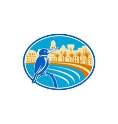 Kingfisher mediterranean coast oval retro vector