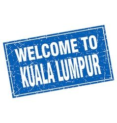 Kuala lumpur blue square grunge welcome to stamp vector