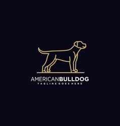 Logo american bulldog gradient line art style vector