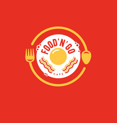 logo eggs bacon cafe restaurant fork spoon vector image