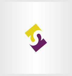 logo s icon letter purple yellow sign symbol vector image
