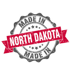 made in north dakota round seal vector image