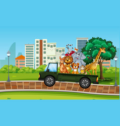 many wild animal on the truck vector image