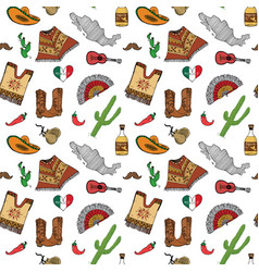 mexico seamless pattern doodle elements hand vector image