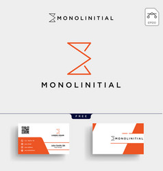 minimal e initial logo template and business card vector image