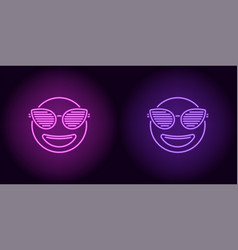 neon stylish emoji in purple and violet color vector image