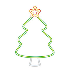neon tree with star merry christmas vector image