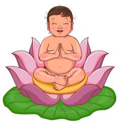 Newborn buddha sits in lotus flower vector