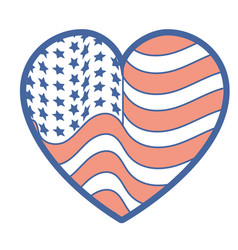 nice heart with usa flag inside vector image